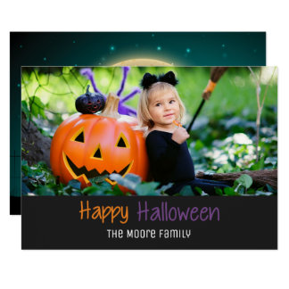 Full Moon Crow Graveyard Halloween Photo Card