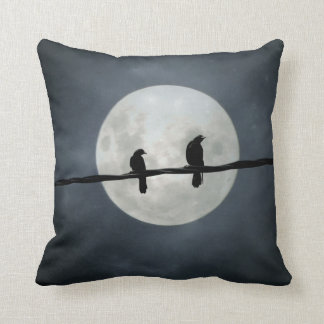 Full Moon Crows On The Line Throw Pillow