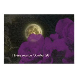 Full Moon Deep Purple Ghost Roses Save the Date Card
