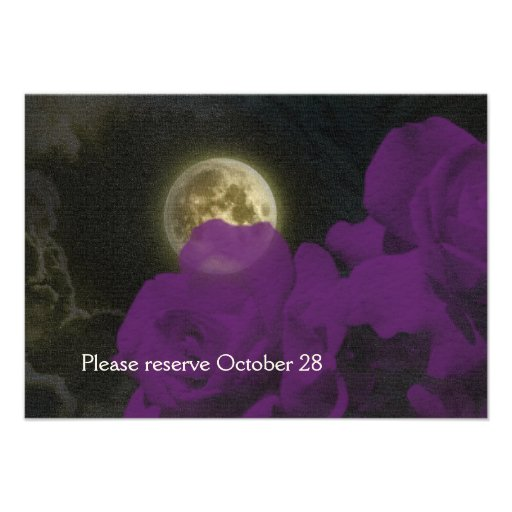 Full Moon Deep Purple Ghost Roses Save the Date Custom Announcement