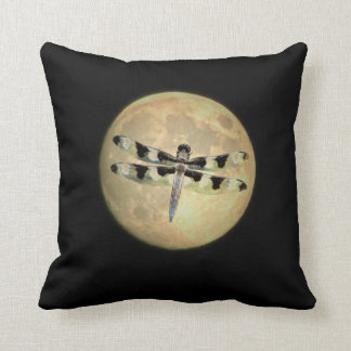 Full Moon Dragonfly Throw Pillow