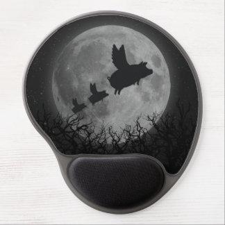 full moon flying pig family gel mouse pad