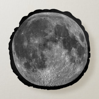Full Moon From Space Round Globe Round Pillow