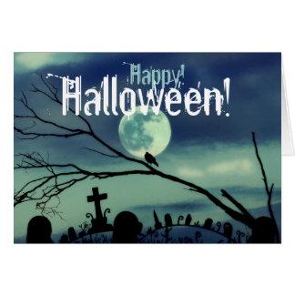 Full Moon Graveyard Happy Halloween Card