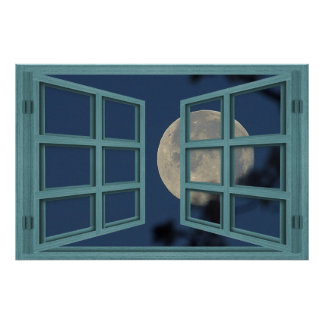 Full Moon Green 6 Pane Open Window Poster