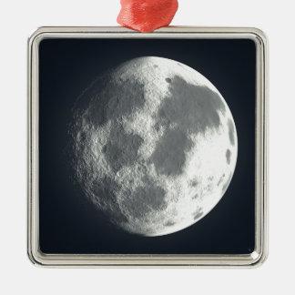 Full Moon Image Silver-Colored Square Ornament