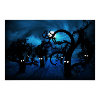 Full Moon in The Midnight Forest Poster