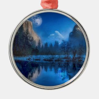 Full moon in Yosemite Metal Ornament