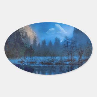 Full moon in Yosemite Oval Sticker