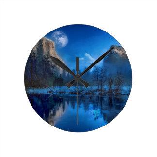 Full moon in Yosemite Round Clock