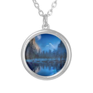 Full moon in Yosemite Silver Plated Necklace
