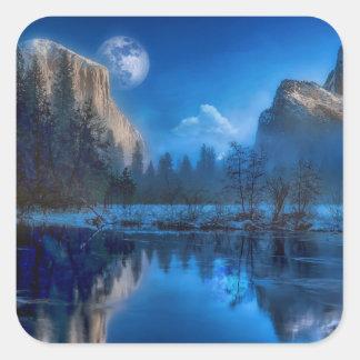 Full moon in Yosemite Square Sticker