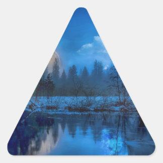 Full moon in Yosemite Triangle Sticker