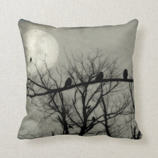 Full Moon Lights The Sky For Crows Throw Pillow