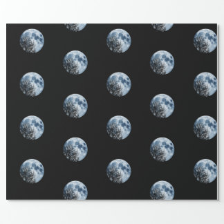 Full moon Lunar Night Moon and Trees Wrapping Paper