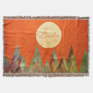 Full Moon Mountains Orange Sky Monogram Initial Throw Blanket