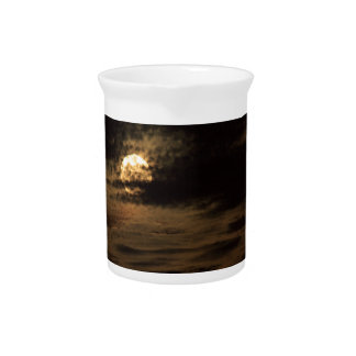 Full Moon of November hiding in the clouds Drink Pitcher