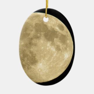 Full moon on black background ceramic oval ornament