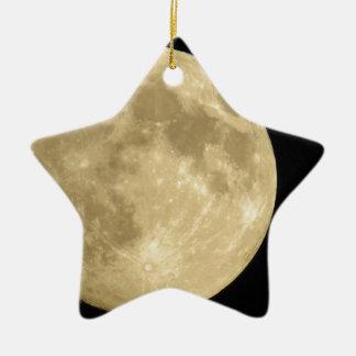 Full moon on black background ceramic star ornament