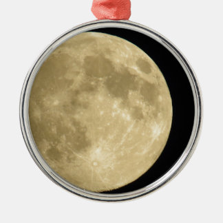Full moon on black background Silver-Colored round ornament