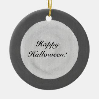 Full Moon on Dark Sky Happy Halloween Ornaments