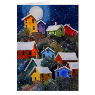 Full Moon on Hillside Houses Pittsburgh PA Greeting Card