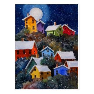 Full Moon on Hillside Houses Pittsburgh PA Postcard