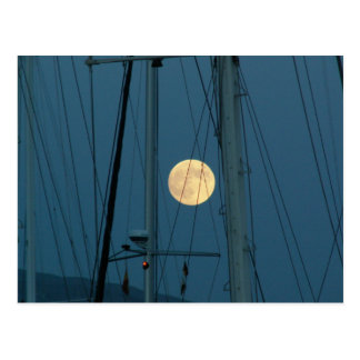 Full Moon Over A Marina Postcard