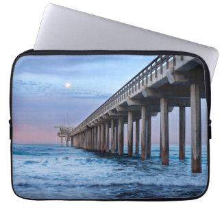 Full moon over pier, California Laptop Sleeve