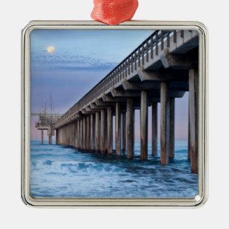 Full moon over pier, California Metal Ornament
