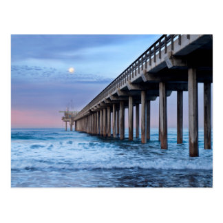 Full moon over pier, California Postcard