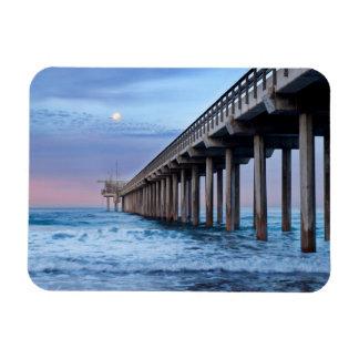 Full moon over pier, California Rectangular Photo Magnet