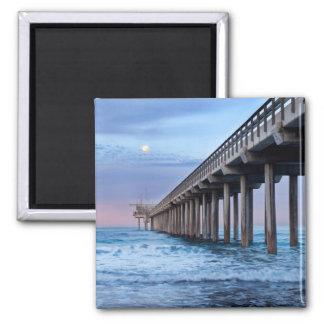 Full moon over pier, California Square Magnet