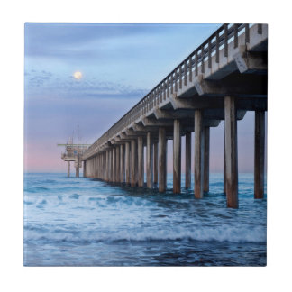 Full moon over pier, California Tile