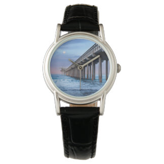 Full moon over pier, California Wrist Watches
