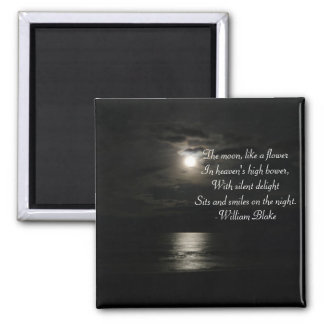 Full Moon over the water at night-with poetry Magnet