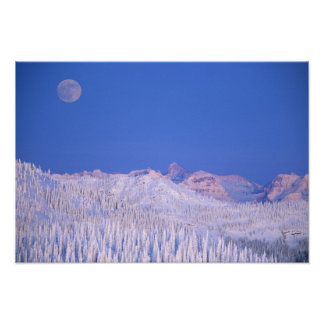 Full moon rising above Glacier National Park Poster