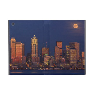 Full moon rising over downtown Seattle skyline Covers For iPad Mini