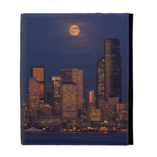 Full moon rising over downtown Seattle skyline iPad Case