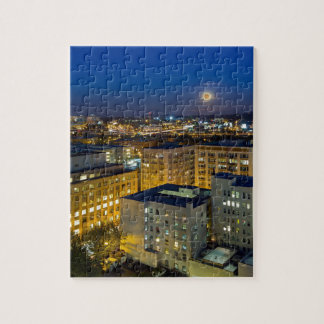 Full Moon Rising over Portland OR Downtown Jigsaw Puzzle