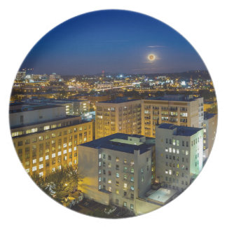 Full Moon Rising over Portland OR Downtown Plate