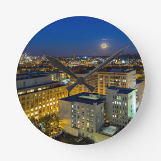 Full Moon Rising over Portland OR Downtown Round Clock