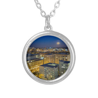 Full Moon Rising over Portland OR Downtown Silver Plated Necklace