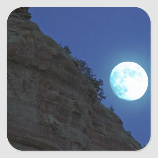Full moon rising over Sedona Square Sticker