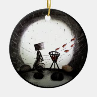 Full Moon Round Ceramic Ornament