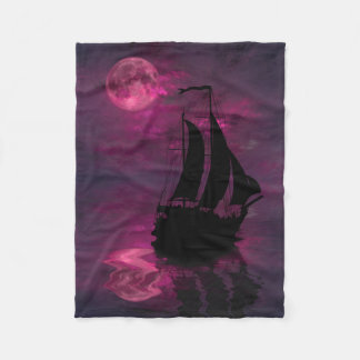 Full Moon Sail Ship Small Fleece Blanket