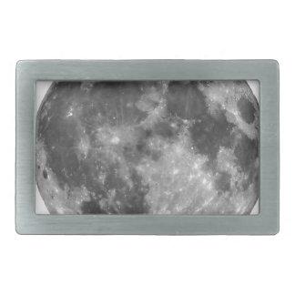 Full moon seen with telescope rectangular belt buckle