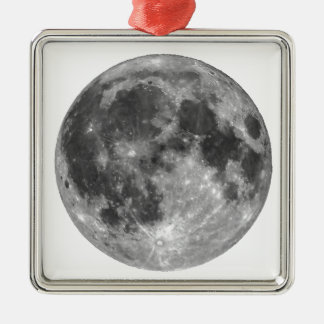 Full moon seen with telescope Silver-Colored square ornament