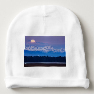 Full Moon setting over the Julian Alps Baby Beanie