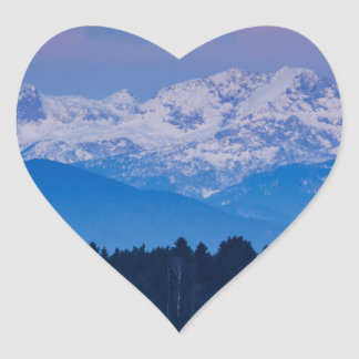 Full Moon setting over the Julian Alps Heart Sticker